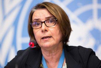Catherine Marchi-Uhel, Chef du Mécanisme international, impartial et indépendant chargé d'enquêter sur les violations les plus graves en Syrie, à une conférence de presse au Palais à Genève (5 septembre 2017)