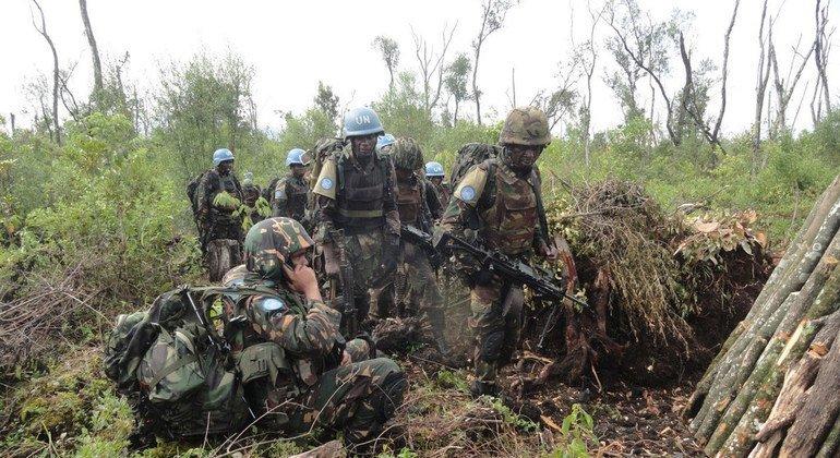 Las fuerzas especiales de Tanzania establecen comunicaciones con sus interlocutores durante una operación en el bosque Kalima, en Rutshuru, la República Democrática del Congo en diciembre de 2016.