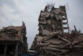 Разрушения в сирийском городе Хомс. В ходе конфликта в Сирии было  разрушено около 33 процентов всех  жилых зданий