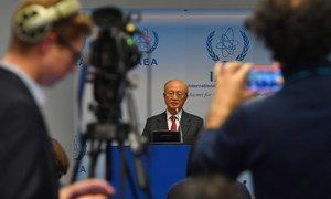 Yukiya Amano, Director General of the International Atomic Energy Agency (IAEA), briefs members of the media in Vienna.