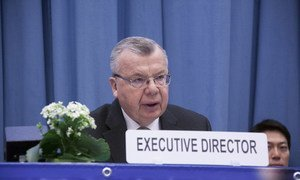 Yury Fedotov, the Executive Director of the UN Office on Drugs and Crime (UNODC) addresses the 61st session of the Commission on Narcotic Drugs.