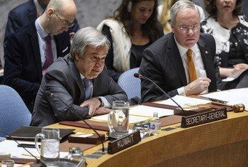الأمين العام أنطونيو غوتيريش يتحدث أمام مجلس الأمن الدولي عن الوضع في سوريا.