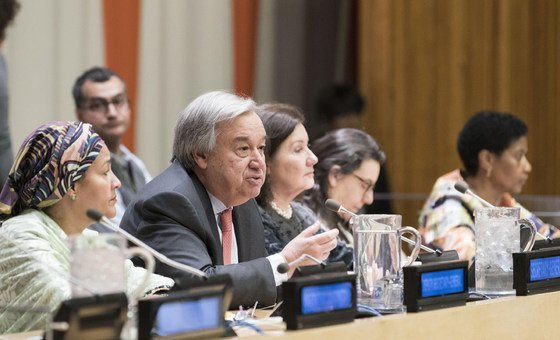 Secretary-General António Guterres (centre) holds townhall meeting in connection with the sixty-second session of the Commission on the Status of Women.