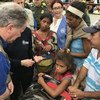 David Beasley, Directeur exécutif du PAM, rencontre des réfugiés vénézueliens en Colombie, 12 mars 2018.