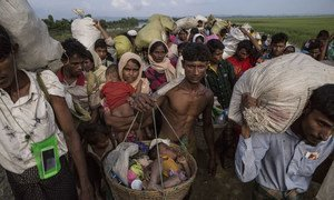 A Rohingya refugee carries a child in a basket as he and others who crossed the Naf River the night before carry their belongings as they make their way through a no-man's land area along the border between Myanmar and Bangladesh.