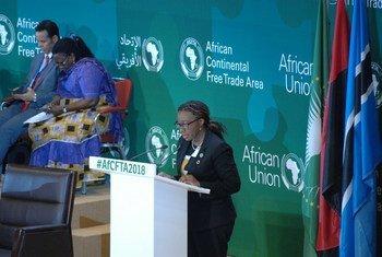 Vera Songwe, Secrétaire exécutive de la Commission économique des Nations Unies pour l'Afrique (CEA) lors de la 18ème session extraordinaire du Conseil exécutif de l'Union africaine,