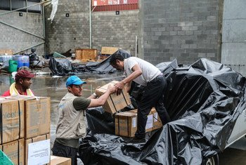 On 28 September 2017, in collaboration with the Government of Dominica, UNICEF staff load a supply of Hygiene and Dignity Kits for distribution to families affected by the Hurricane Maria at the port of Roseau, capital of Dominica.