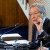 Le Représentant spécial du Secrétaire général pour l'Afghanistan, Tadamichi Yamamoto, lors d'une conférence de presse à Kaboul (archives).