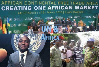 Collage of photos of the African Continental Free Trade Area (AfCFTA) at the African Union summit in Kigali, 21 March 2018 (top), Gilbert Nantsa (l) and Lieutenant-General Daniel Ishmael Opande (r).