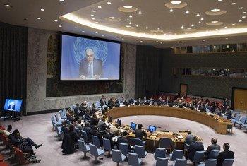 Ghassan Salamé informa al Consejo de Seguridad vía teleconferencia.