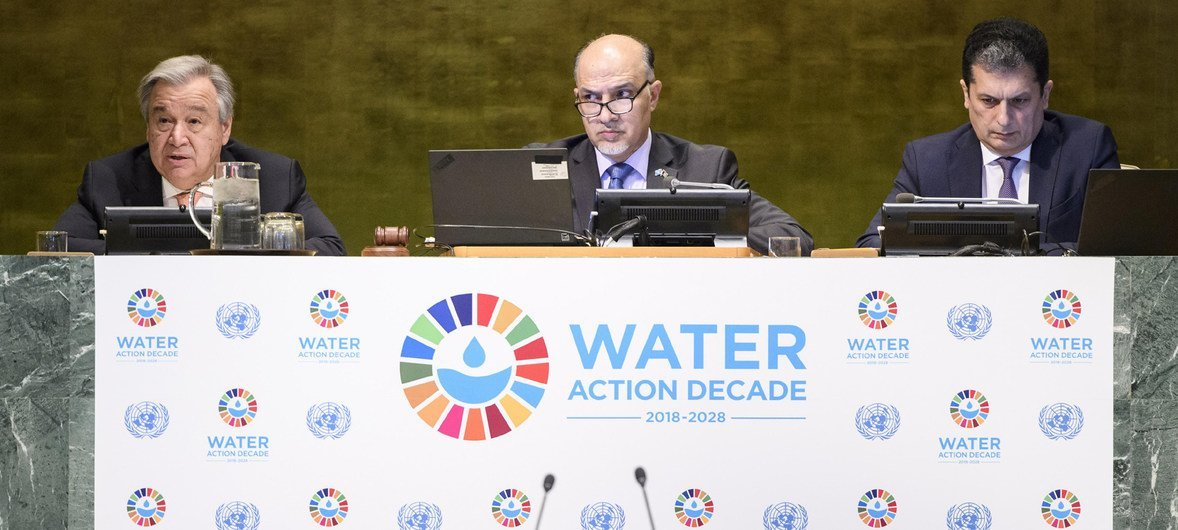 """Secretary-General António Guterres (left) makes remarks during the high-level event to launch the International Decade for Action, """"Water for Sustainable Development 2018–2028""""."""