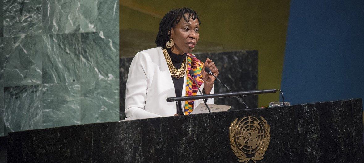 Graciela Dixon durante su participación en la Asamblea General de la ONU en el Día Internacional de Recordación de las Víctimas de la Esclavitud.