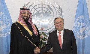 Secretary General Antonio Guterres meets with H.R.H. Prince Mohammed bin Salman Al Saud, Crown Prince, Kingdom of Saudi Arabia.