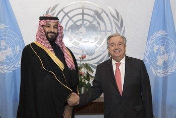 الأمين العام للأمم المتحدة أنطونيو غوتيريش يلتقي ولي عهد المملكة العربية السعودية الأمير محمد بن سلمان، في مقر الأمم المتحدة.