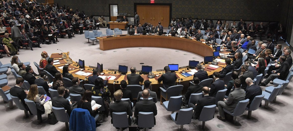 Wide shot of the Security Council in session.