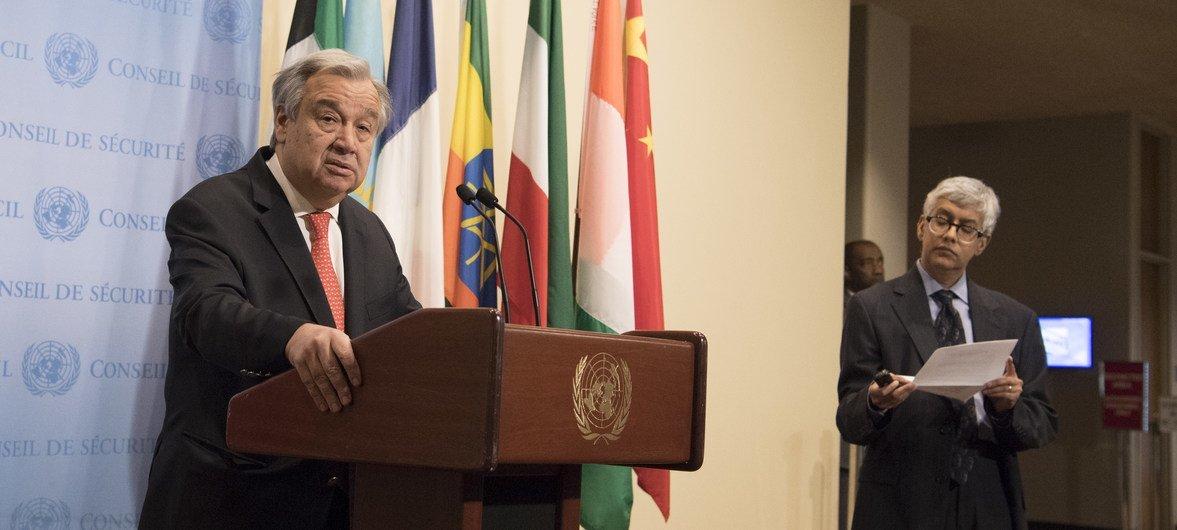 Encuentro del Secretario General con los medios de comunicación en la sede de la ONU en Nueva York.