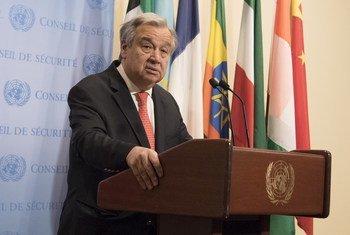 Le Secrétaire général de l'ONU, António Guterres, lors d'un point de presse au siège de l'ONU.