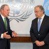 古特雷斯秘书长(右)会见了其气候行动特使布隆伯格。