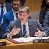 """英国常驻联合国代表乔纳森·艾伦(Jonathan Allen)在安理会就英国遭受""""毒剂""""袭击事件发言。"""