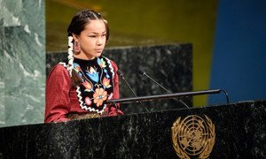 """Autumn Peltier, 13-year-old water advocate from the Anishinaabe tribe of Canada, addresses the event to launch the International Decade for Action titled """"Water for Sustainable Development 2018–2028"""".."""