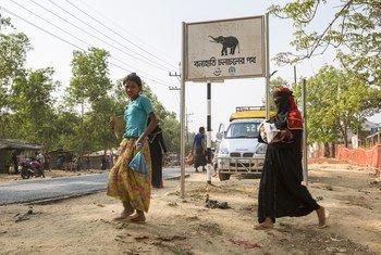 Señal de zona de tránsito de elefantes en el campamento para refugiados de Kutupalong, situado en el distrito bangladesí de Ukhia.
