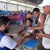 ACNUR apoya a las autoridades locales en el registro de los venezolanos que buscan asilo en Tancredo, Boa Vista, Roraima, Brasil.