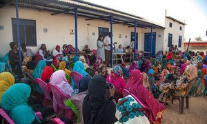 Pramila Patten, Special Representative of the Secretary-General on Sexual Violence in Conflict, speaking to women and girls in Darfur, in February 2018.