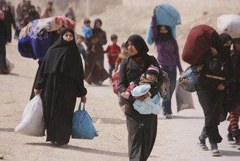 叙利亚东古塔流离失所的家庭。