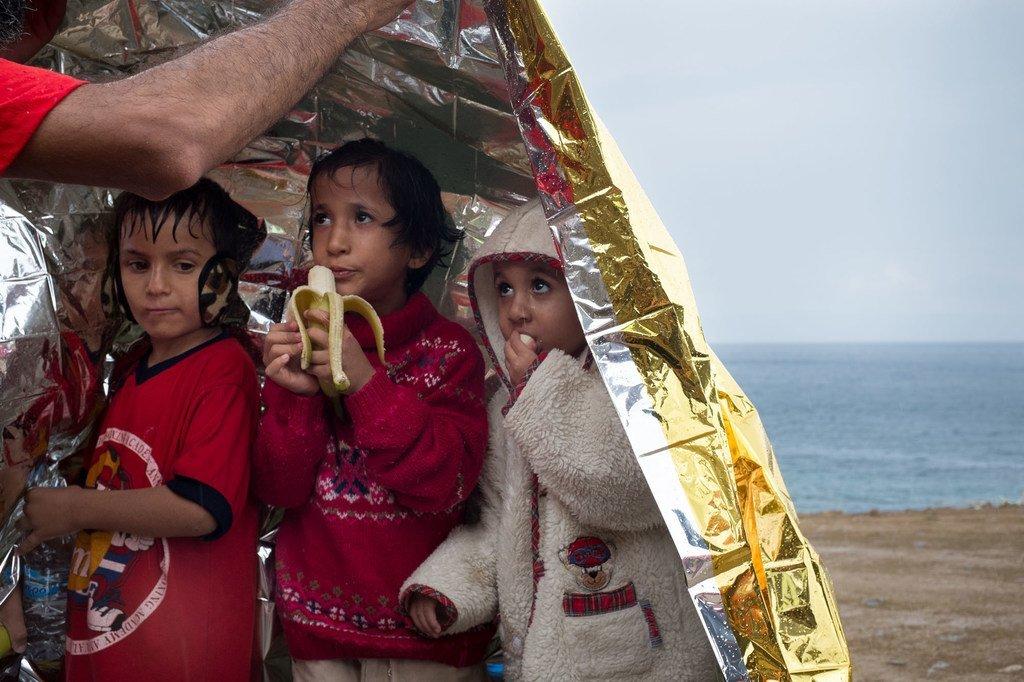 Des enfants réfugiés arrivés sur l'île grecque de Lesbos (archives).