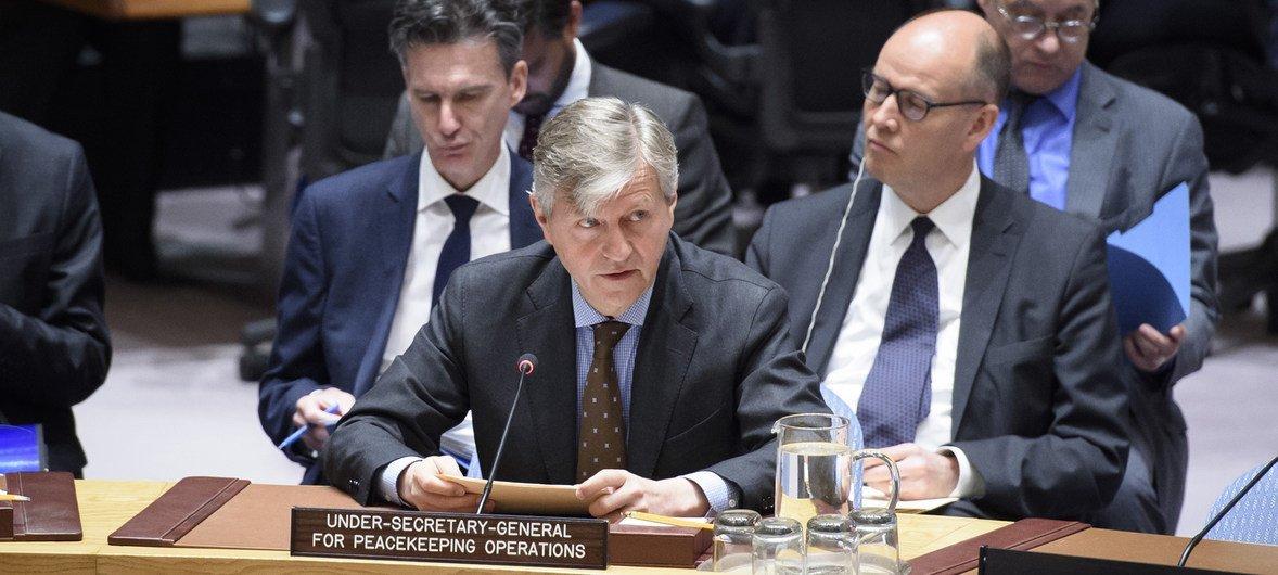 Jean-Pierre Lacroix fala ao Conselho de Segurança.
