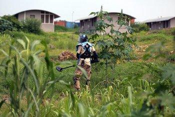 Un membre du Service de la lutte antimines des Nations Unies (UNMAS) vérifie la présence d'engins explosifs près d'une base de l'ONU dans la capitale Juba, au Soudan du Sud.