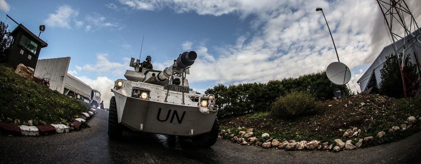 """Italian peacekeepers serving with the UN mission in Lebanon, known as UNIFIL, patrol the so-called """"Blue Line"""" demarcating the border between Lebanon and Israel."""