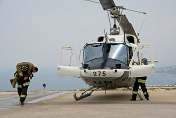 (File photo) Firefighters from the UN interim force in Lebanon, UNIFIL, during an evacuation exercise in Naqoura in 2016, the town where maritime border talks were held between Israel and Lebanon on 14 October, 2020.
