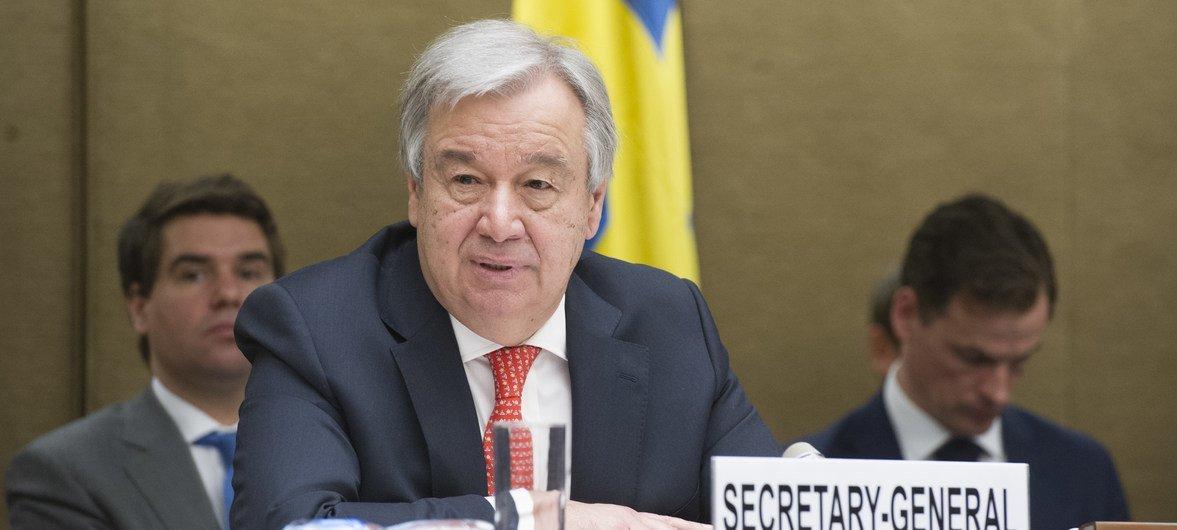 Генеральный секретарь ООН Антониу Гутерриш на  конференции доноров в Женеве