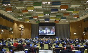 Deputy Secretary-General Amina J. Mohammed (left on podium, and on screen) speaks at the opening of the 2018 ECOSOC Partnership Forum. To her right is Marie Chatardová, the President of the Economic and Social Council.
