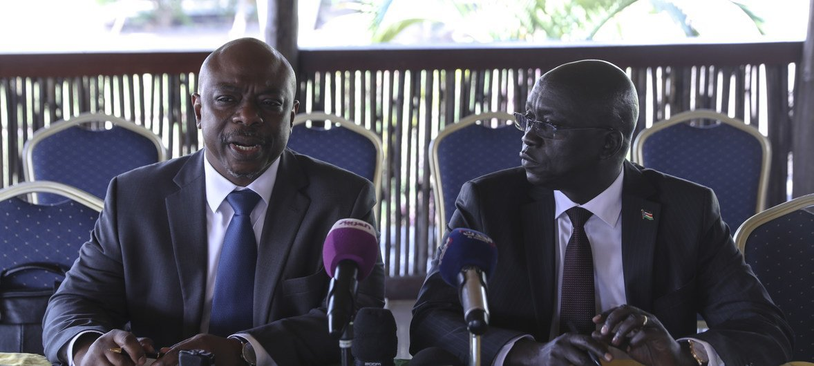 Alain Noudehou (left), the Humanitarian Coordinator for South Sudan, speaks at the launch of the 2018 Humanitarian Response Plan for the country. Alongside him is Hussein Marnyot, the Minister of Humanitarian Affairs and Disaster Management of South Sudan.