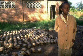 A 14-year-old Rwandan boy from the town of Nyamata, photographed in June 1994, survived the genocidal massacre by hiding under corpses for two days.