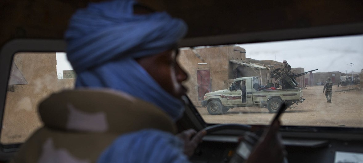 MINUSMA peacekeepers patrolling the streets of Kidal, northern Mali. It is one of the most dangerous UN peacekeeping missions.