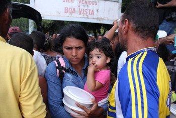 Refugiados venezolanos en la plaza Simón Bolívar, en Boa Vista, en el estado brasileño de Roraima.