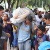 Las familias venezolanas se refugian en el centro de Boa Vista, en el estado de Roraima.