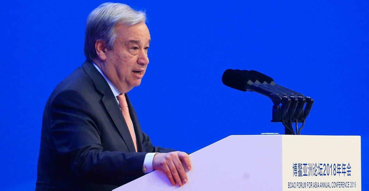 Le Secrétaire général  António Guterres à l'ouverture du Forum Boao 2018 pour l'Asie dans la province de Hainan, en Chine.