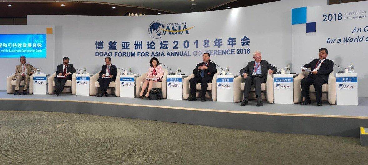 联合国负责经济和社会事务的副秘书长刘振民参加博鳌论坛有关可持续发展目标的分论坛高级别会议。