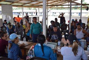 Mesa de Reincorporacion miembros de las FARC en Antioquia en Vidrí, Colombia.