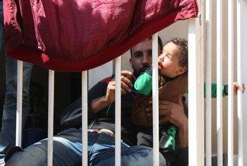 Des personnes déplacées à Harjalleh, en Syrie.