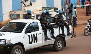 UN Peacekeepers serving with the Multidimensional Integrated Stabilization Mission in the Central African Republic (MINUSCA) patrol the city of Bangui in 2017.