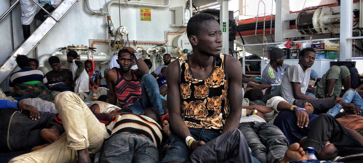 Refugiados rescatados en la costa de Libia. (Archivo)
