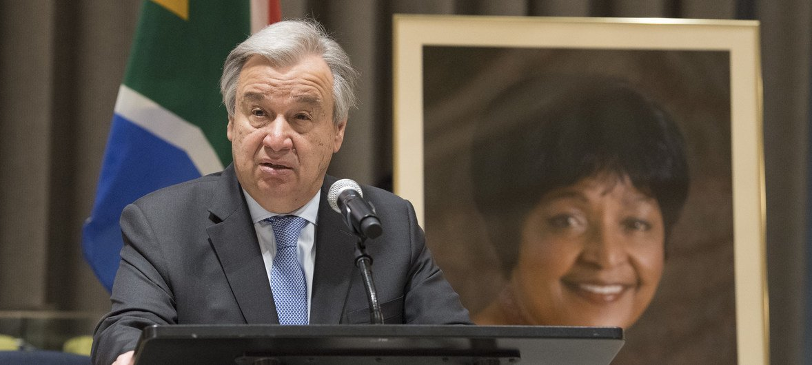 Secretary-General António Guterres speaks at a special memorial service to honour Winnie Madikizela-Mandela, who passed away on 2 April.