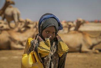 طفلة في التاسعة من العمر تحمل أوعية ملأتها بالماء من بئر يبعد أربعة كيلومترات عن منزلها، في إثيوبيا.