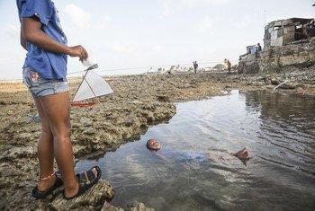 El 18 de enero de 2016, Sadako, de cinco años, se baña en un charco de agua salada durante la marea baja en la erosionada costa de la aldea de Jenrock, en las Islas Marshall.