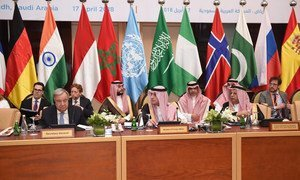 Secretary-General António Guterres (left) at the 16th meeting of the United Nations Counter-Terrorism Centre Advisory Board in Riyadh, Saudi Arabia.